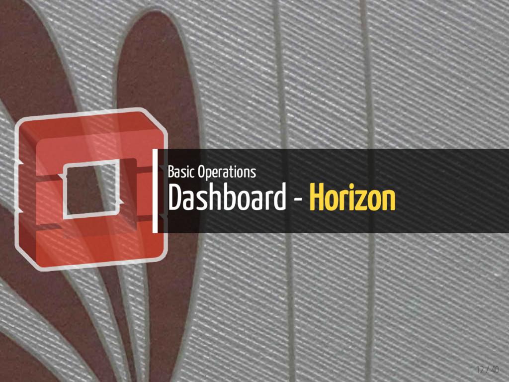 Basic Operations Dashboard - Horizon 12 / 40