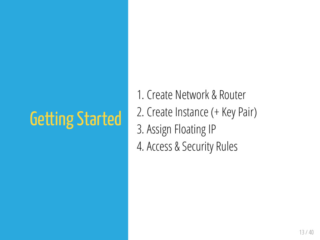 13 / 40 Getting Started 1. Create Network & Rou...