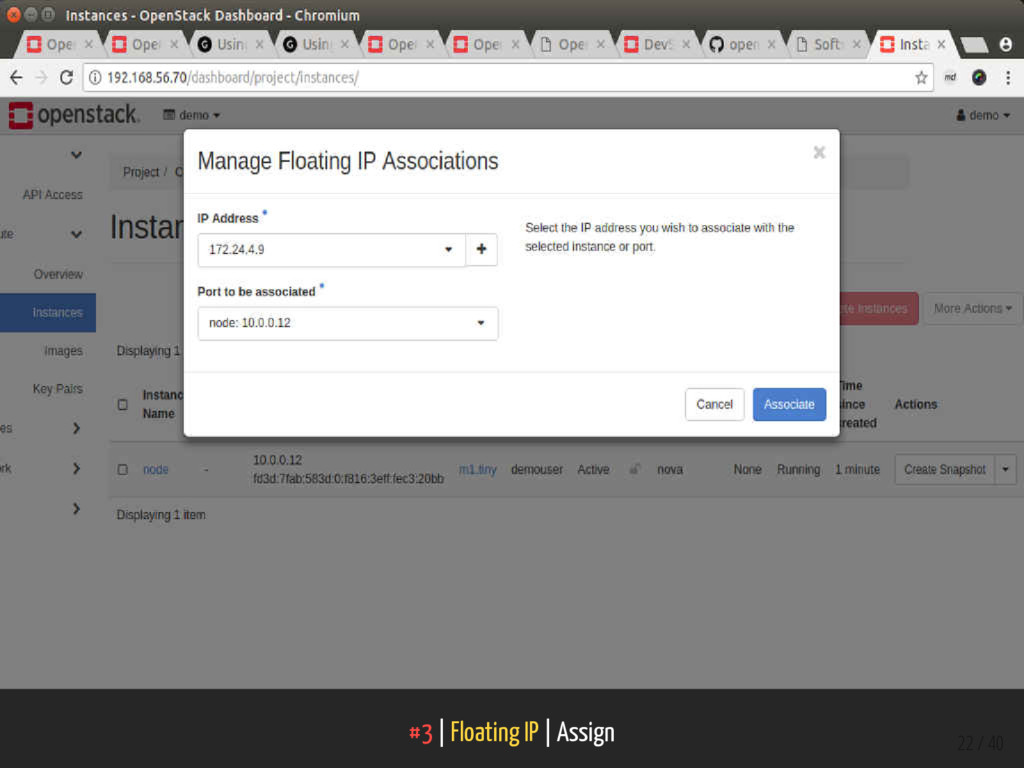 #3   Floating IP   Assign 22 / 40