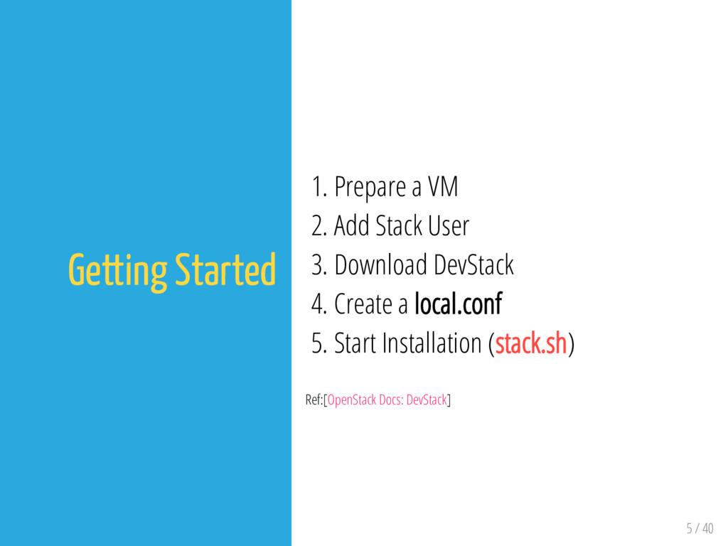 5 / 40 Getting Started 1. Prepare a VM 2. Add S...