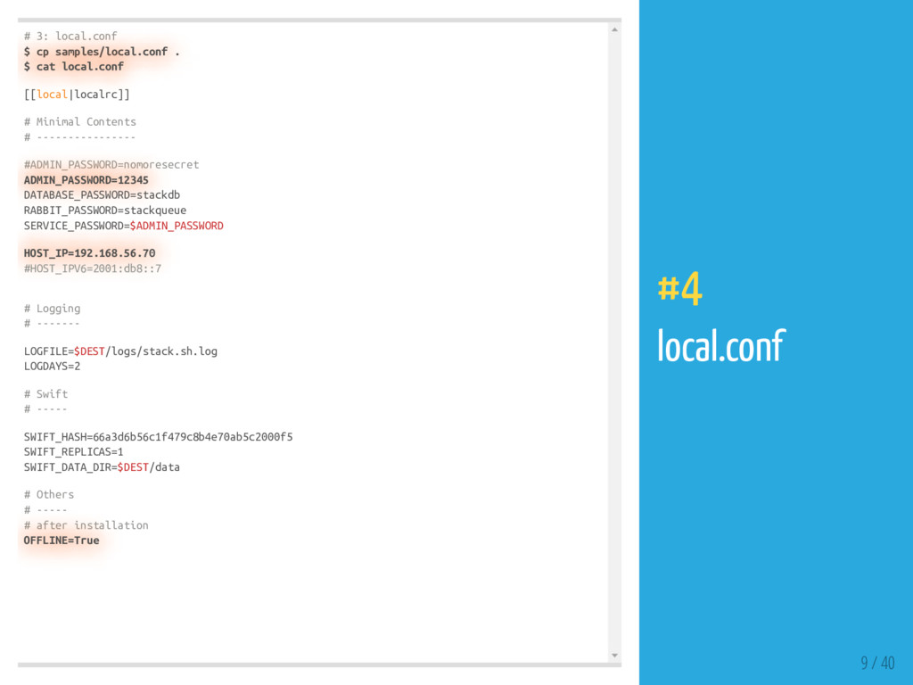 # 3: local.conf $ cp samples/local.conf . $ cat...