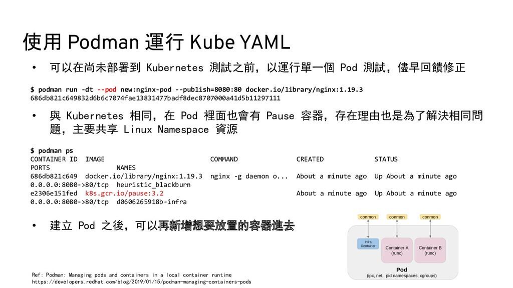 使用 Podman 運行 Kube YAML • 可以在尚未部署到 Kubernetes 測試...