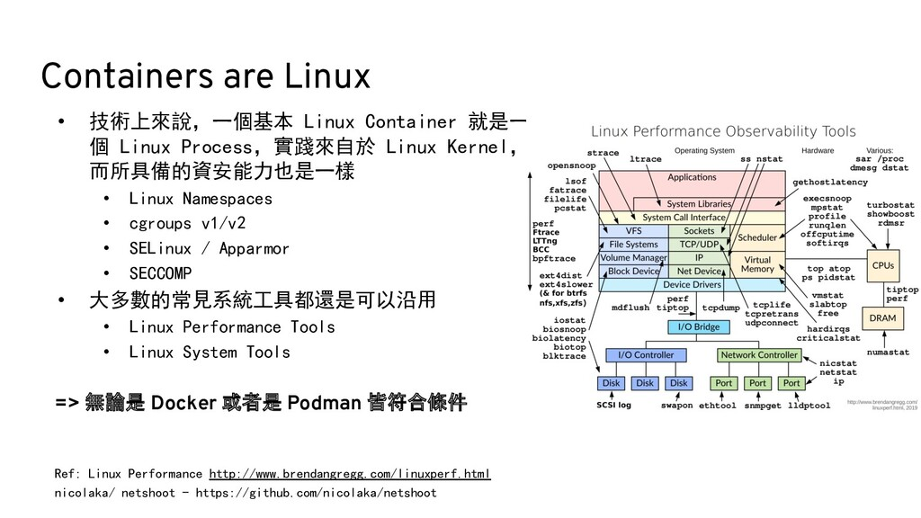 Containers are Linux Ref: Linux Performance htt...