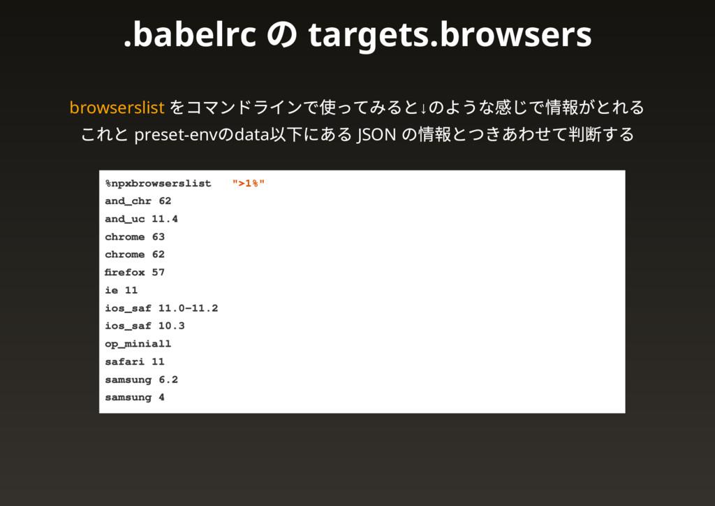 browserslist をコマンドラインで使ってみると↓ のような感じで情報がとれる これと...