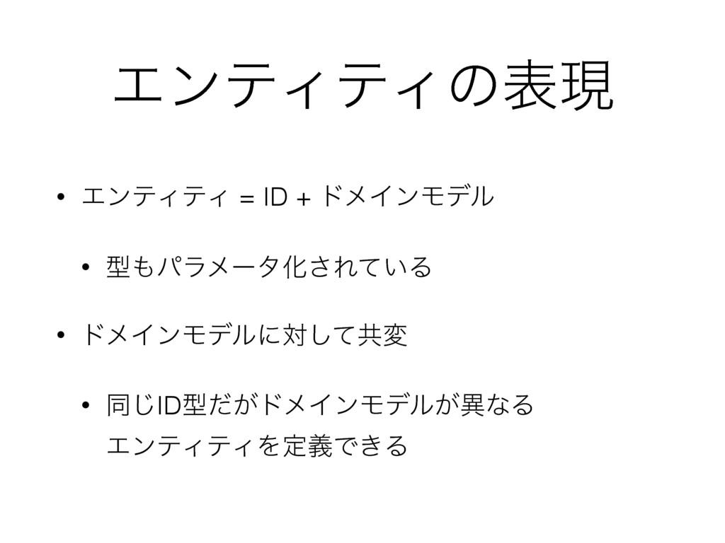 ΤϯςΟςΟͷදݱ • ΤϯςΟςΟ = ID + υϝΠϯϞσϧ • ܕύϥϝʔλԽ͞Εͯ...