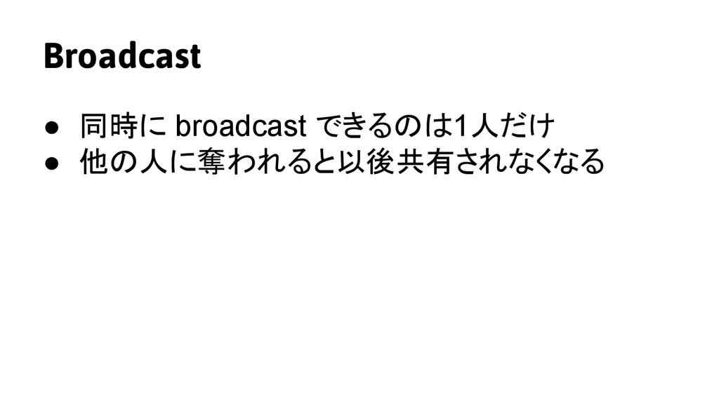Broadcast ● 同時に broadcast できるのは1人だけ ● 他の人に奪われると...