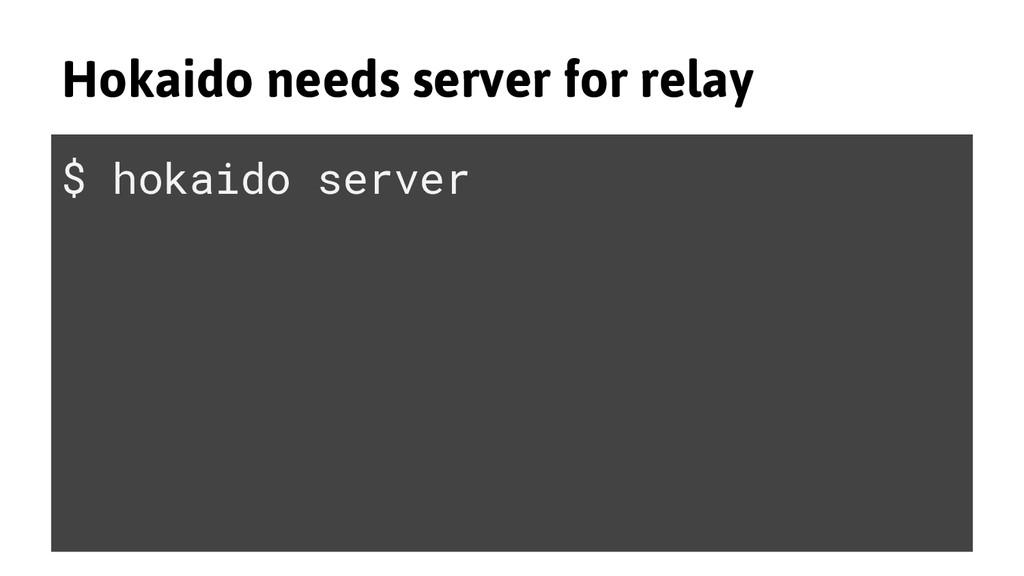 Hokaido needs server for relay $ hokaido server