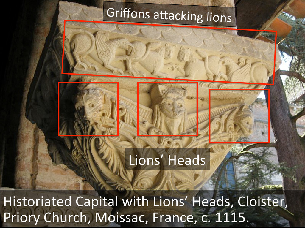 Historiated Capital with Lions' Hea...
