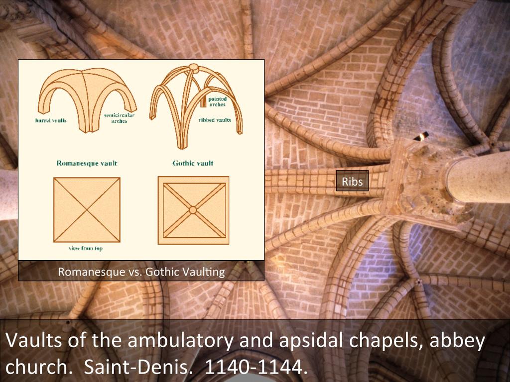 Romanesque vs. Gothic VaulGng  Ribs...