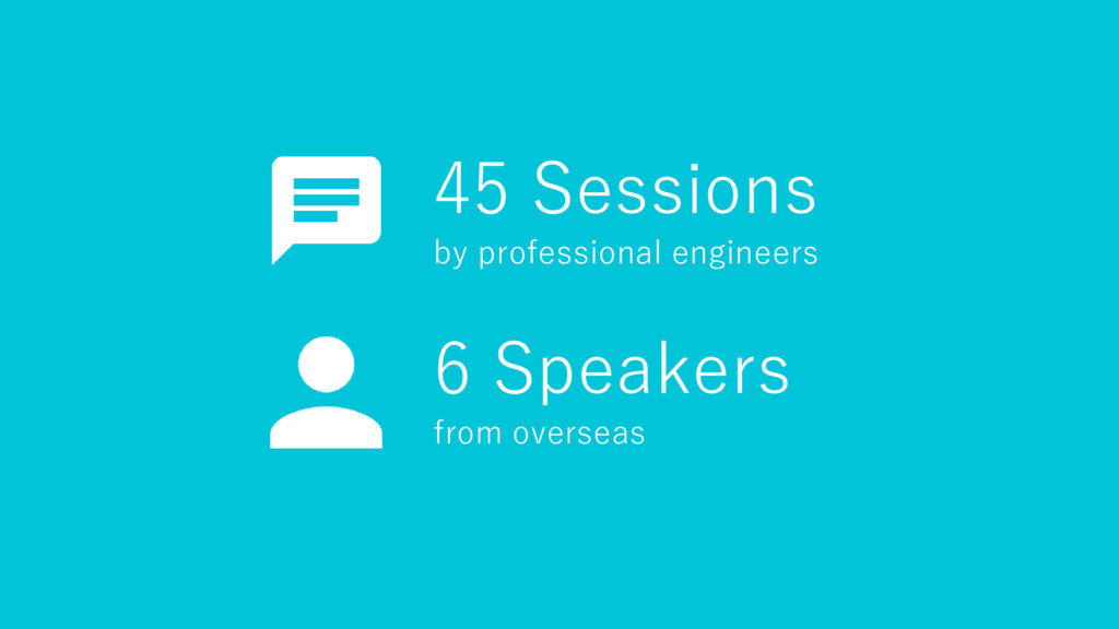 45 Sessions by professional engineers 6 Speaker...