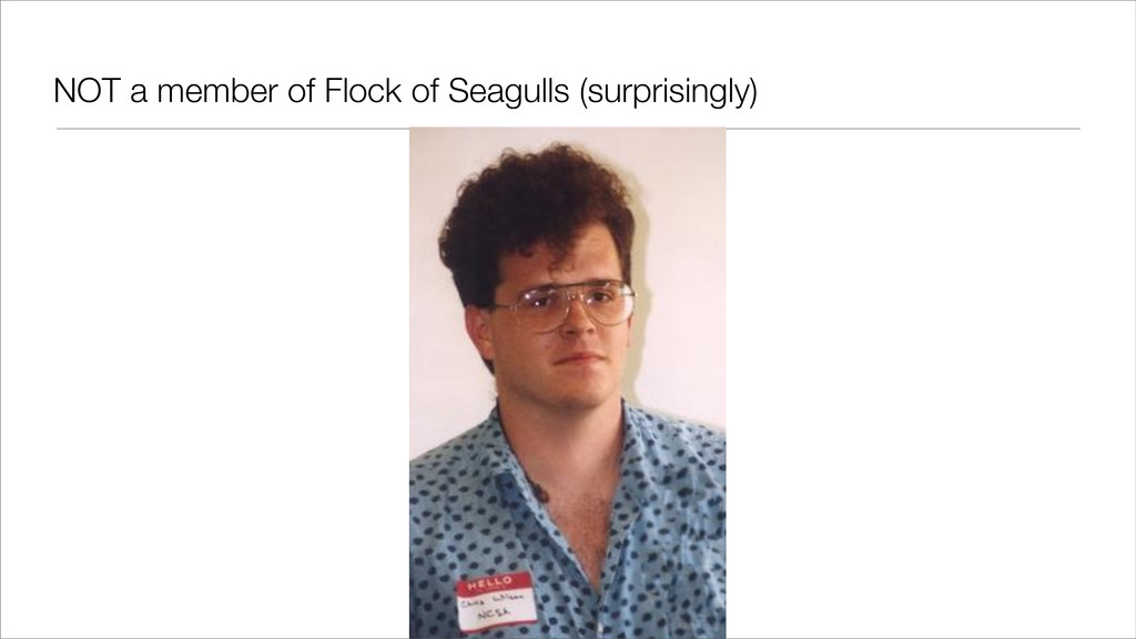 NOT a member of Flock of Seagulls (surprisingly)