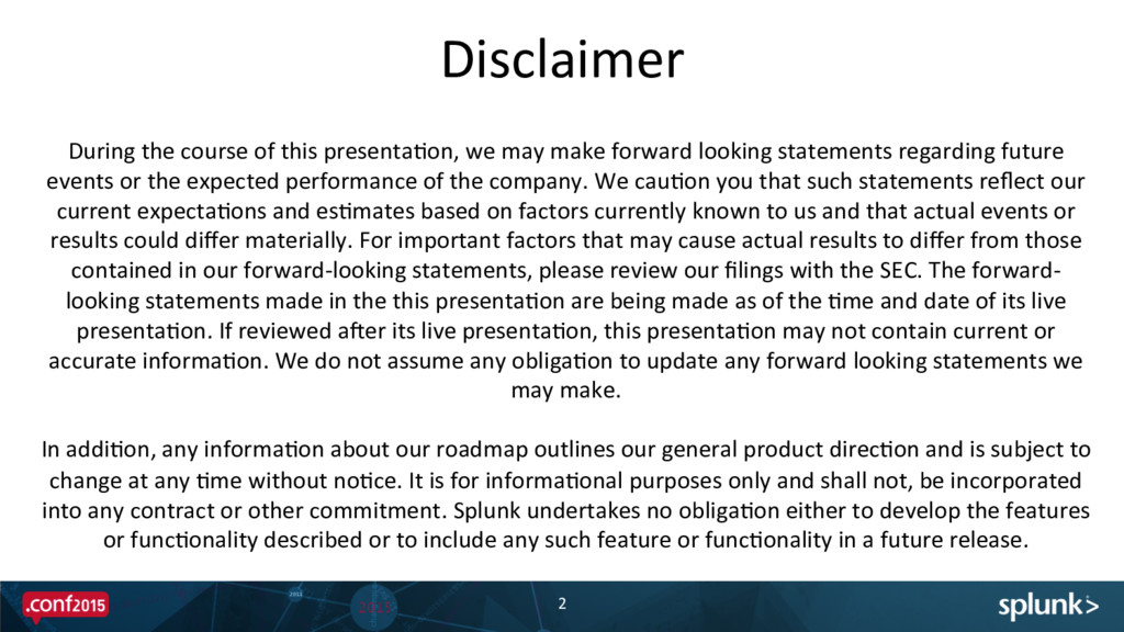 Disclaimer  2  During the course ...