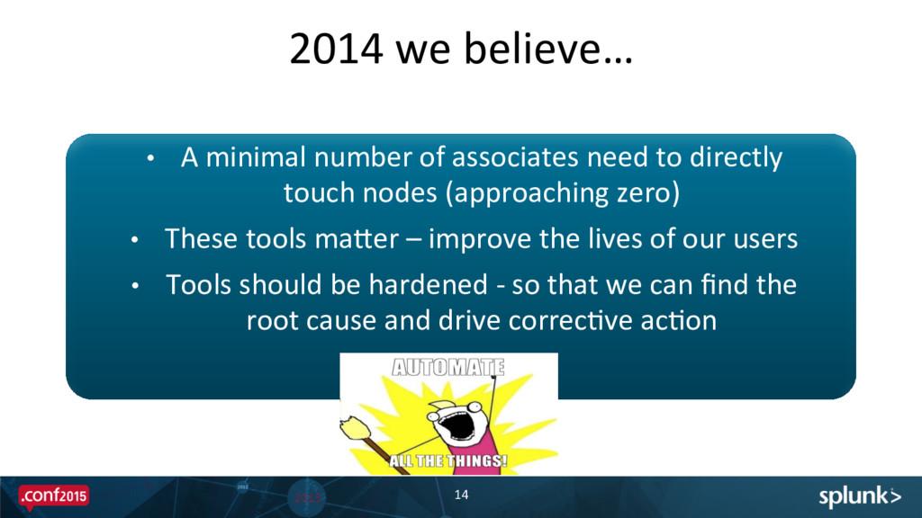 2014 we believe…  14  • A minim...