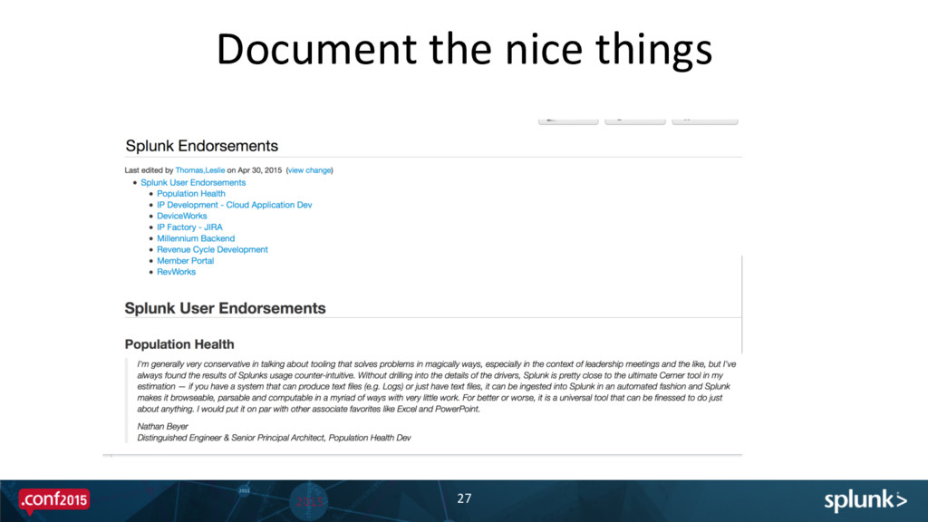 Document the nice things  27