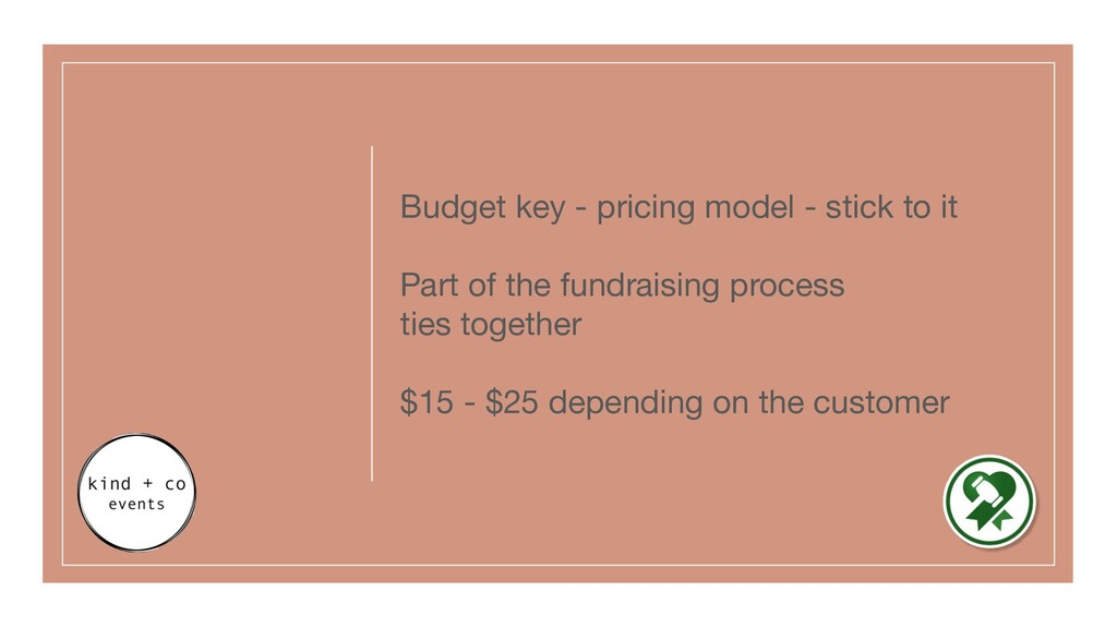 Budget key - pricing model - stick to it Part o...