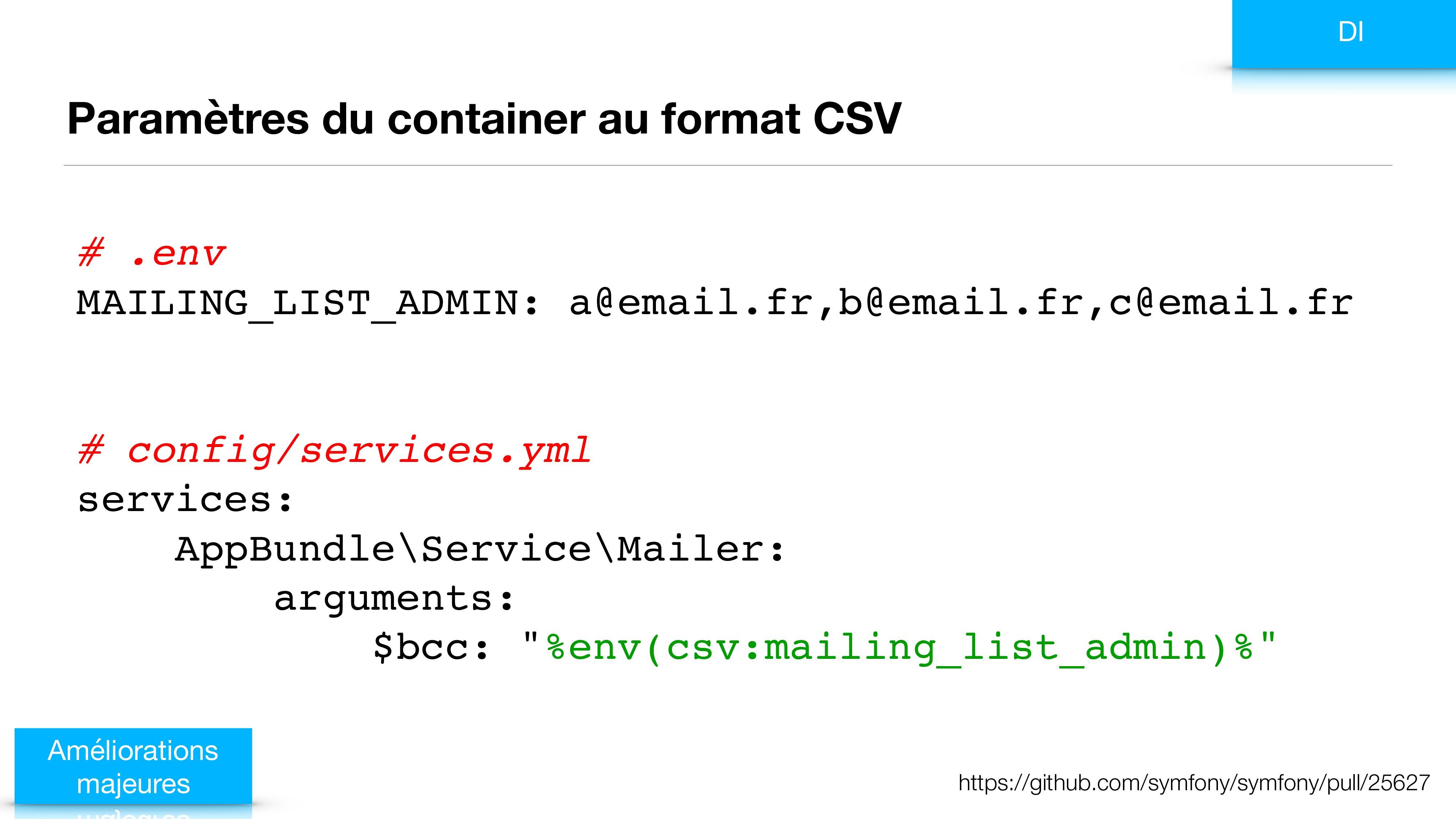 Paramètres du container au format CSV Améliorat...