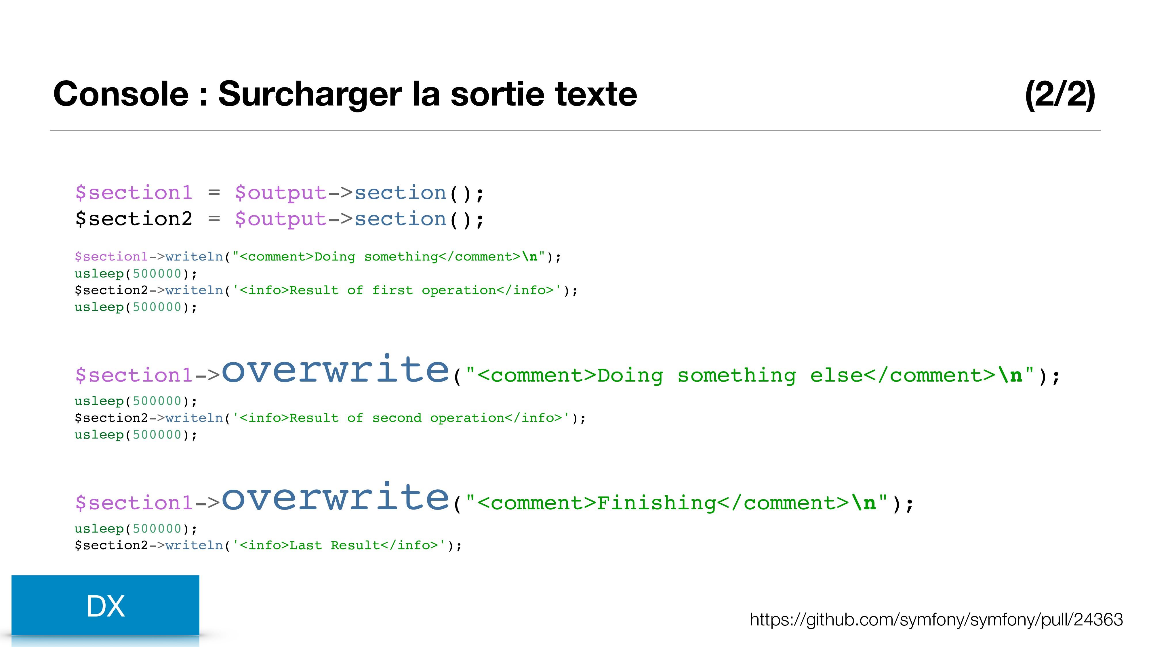 Console : Surcharger la sortie texte (2/2) DX h...
