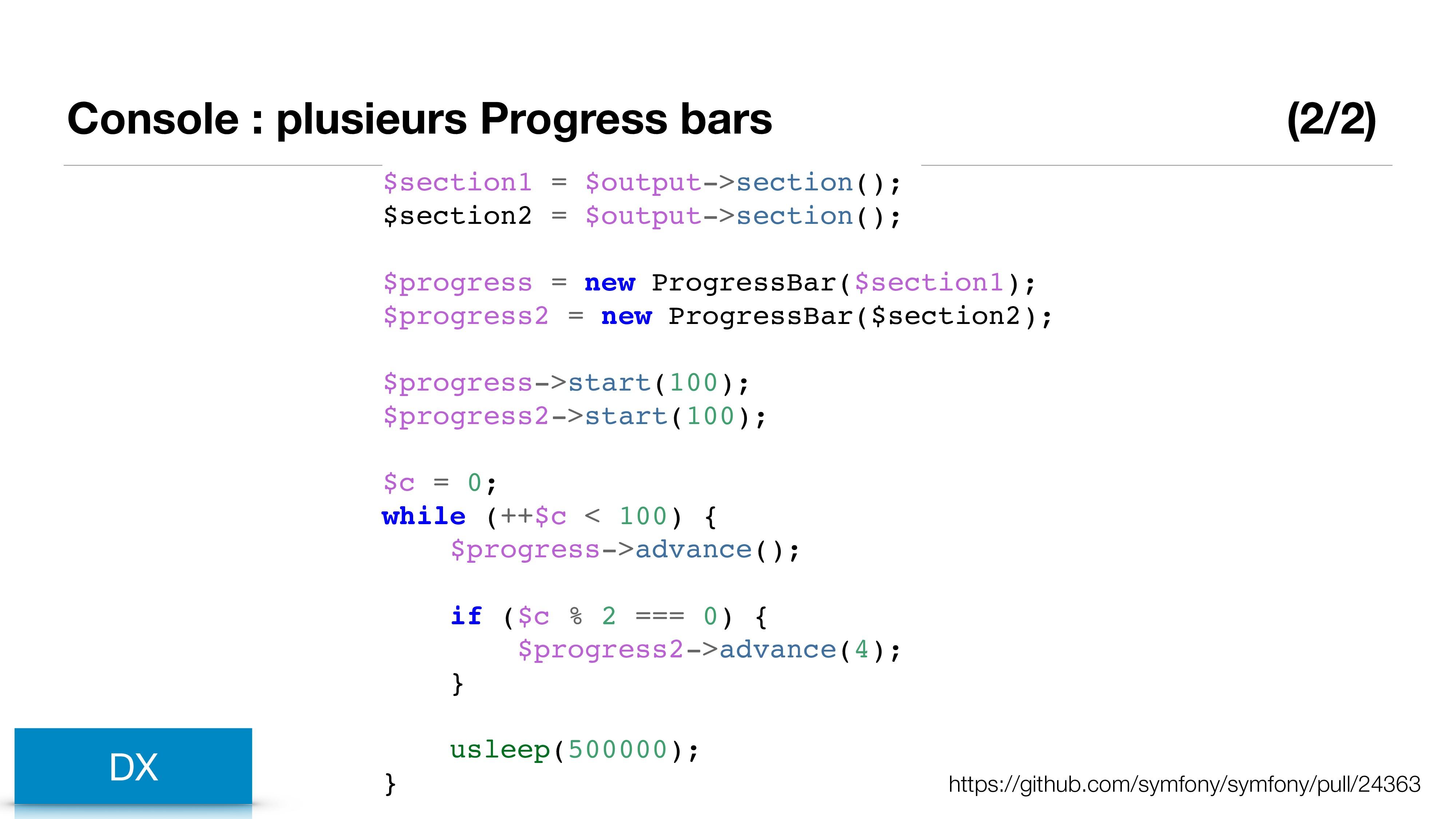 Console : plusieurs Progress bars (2/2) DX http...