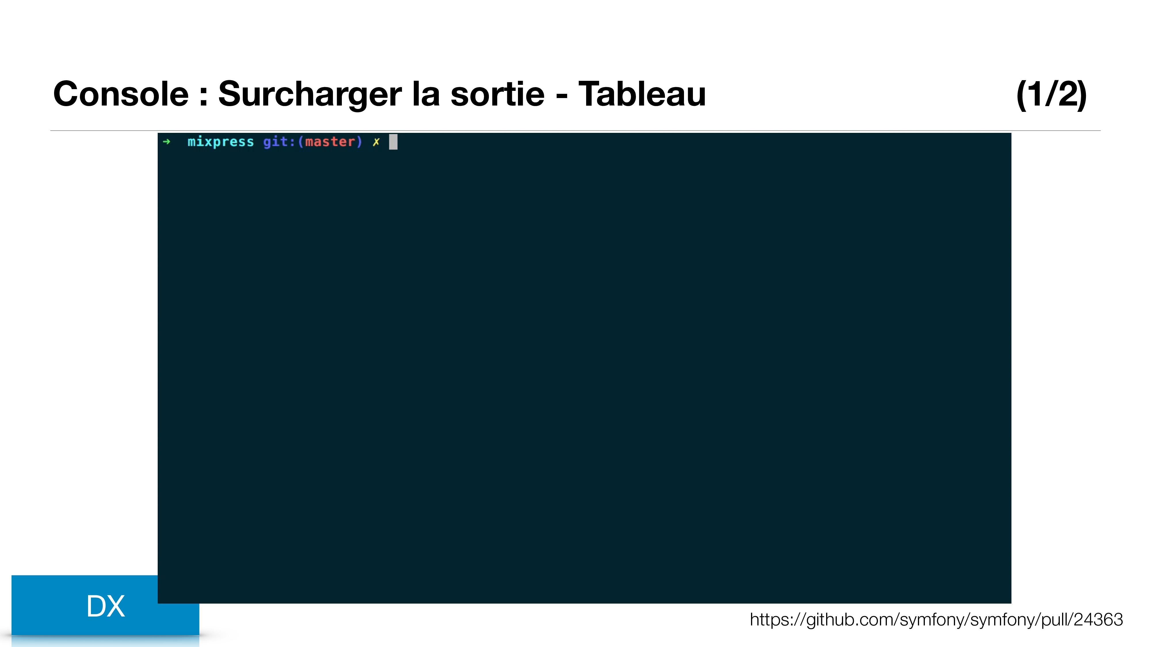 Console : Surcharger la sortie - Tableau (1/2) ...
