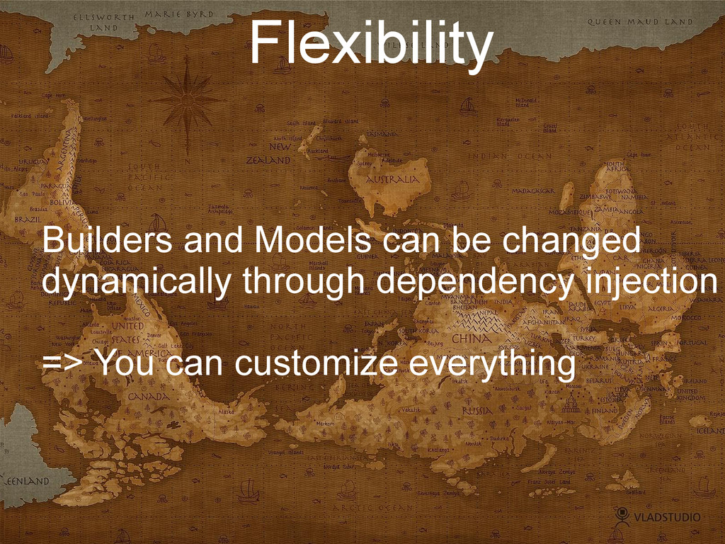 Flexibility Builders and Models can be changed ...