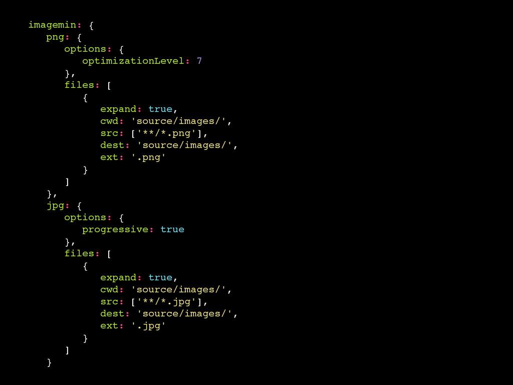 imagemin: { png: { options: { optimizationLevel...