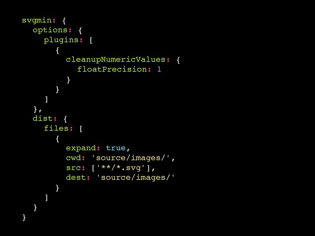 svgmin: { options: { plugins: [ { cleanupNumeri...
