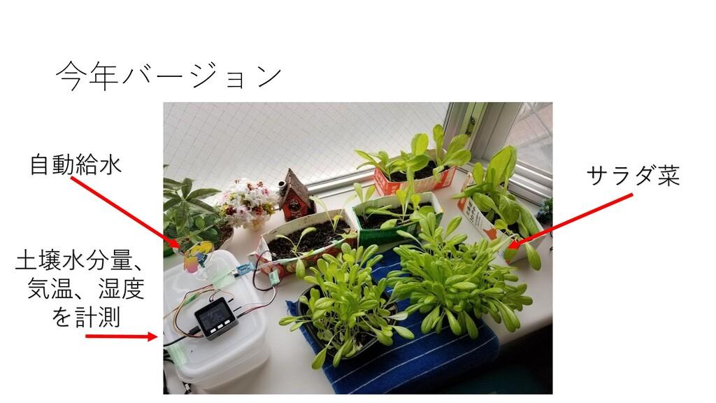 今年バージョン サラダ菜 土壌水分量、 気温、湿度 を計測 自動給水