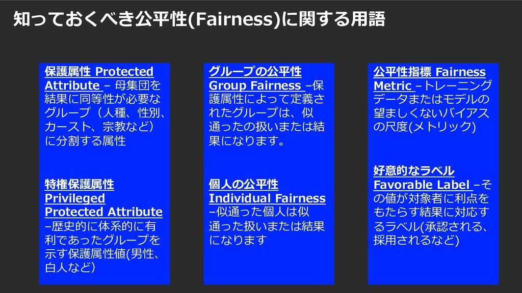 知っておくべき公平性(Fairness)に関する⽤語 公平性指標 Fairness Metri...