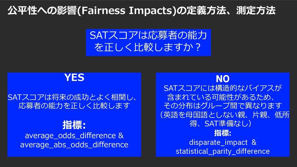 公平性への影響(Fairness Impacts)の定義⽅法、測定⽅法 22 IBM Data...