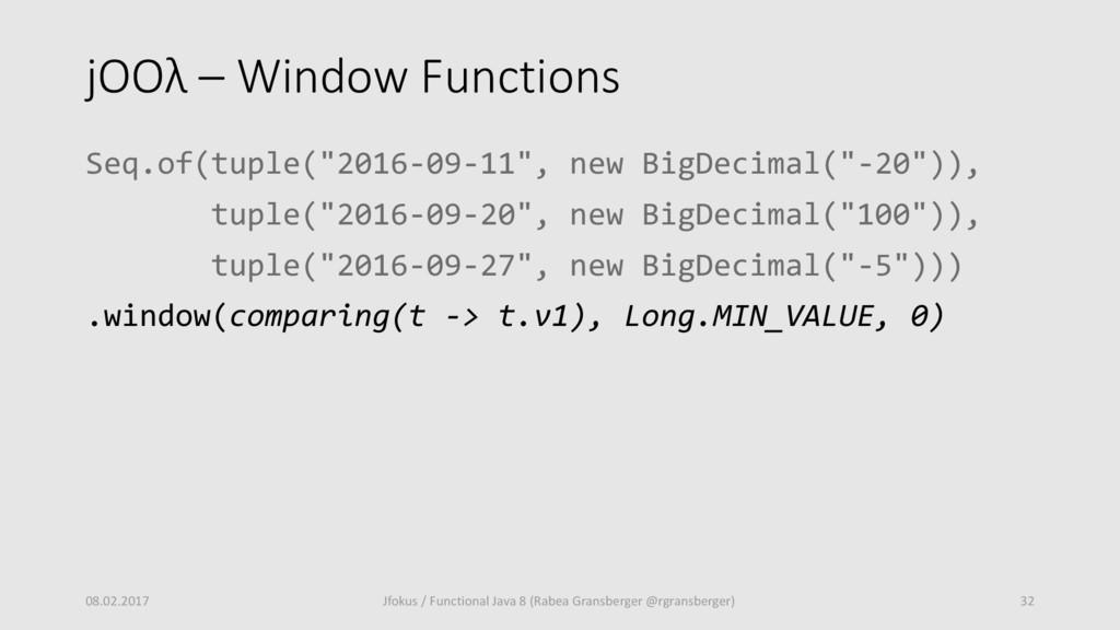 """jOOλ – Window Functions Seq.of(tuple(""""2016-09-1..."""