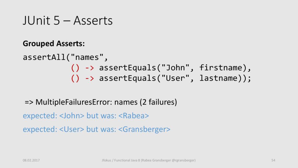 """JUnit 5 – Asserts Grouped Asserts: assertAll(""""n..."""