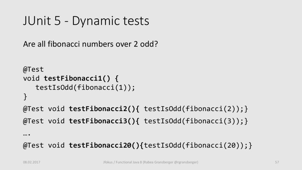 JUnit 5 - Dynamic tests Are all fibonacci numbe...