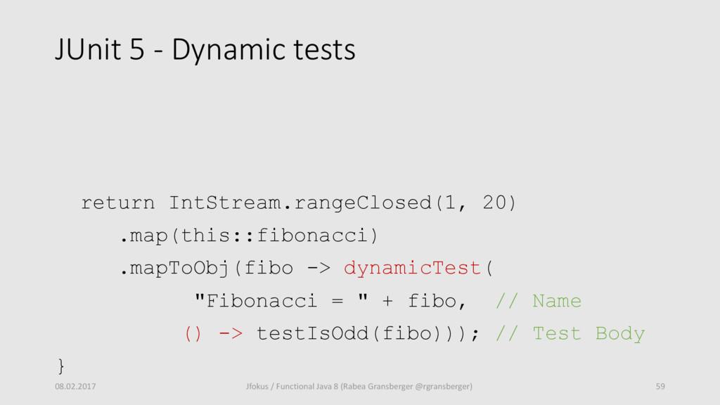 JUnit 5 - Dynamic tests return IntStream.rangeC...