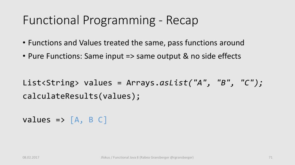 Functional Programming - Recap • Functions and ...