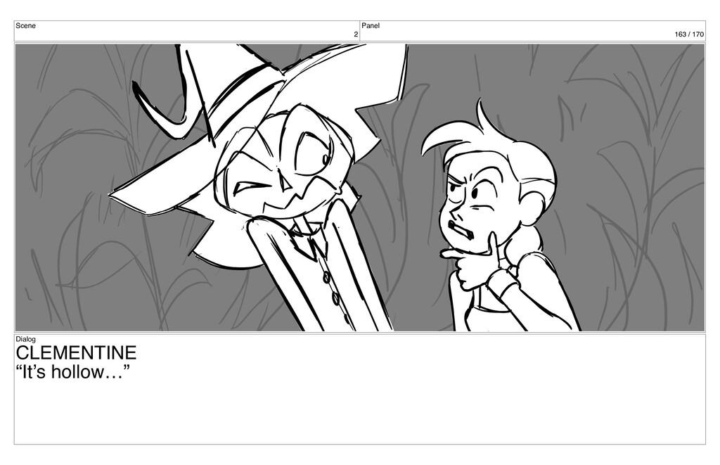 "Scene 2 Panel 163 / 170 Dialog CLEMENTINE ""It's..."