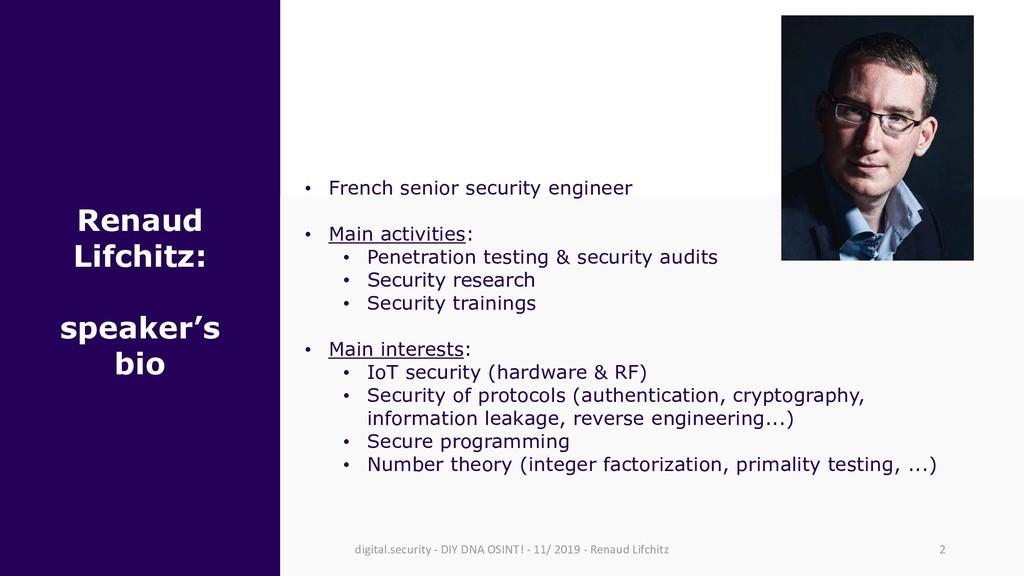 Renaud Lifchitz: speaker's bio • French senior ...