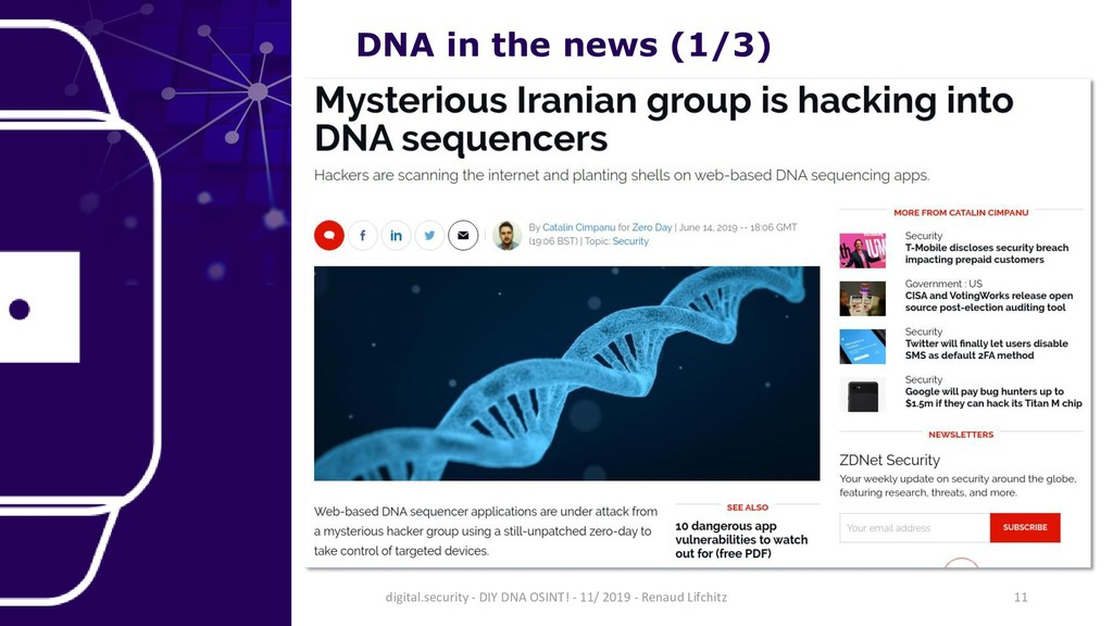 DNA in the news (1/3) 11 digital.security - DIY...