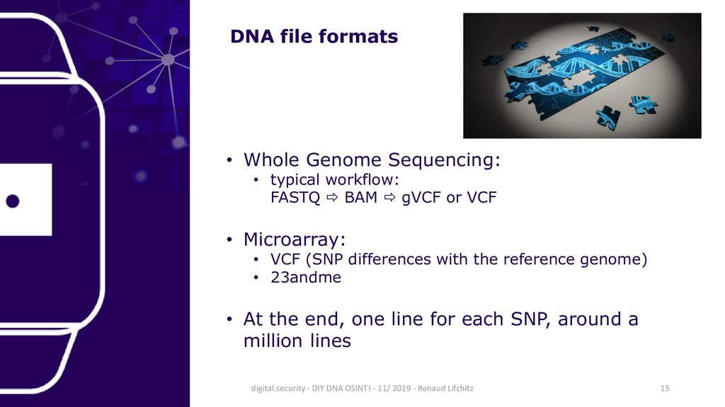 DNA file formats • Whole Genome Sequencing: • t...
