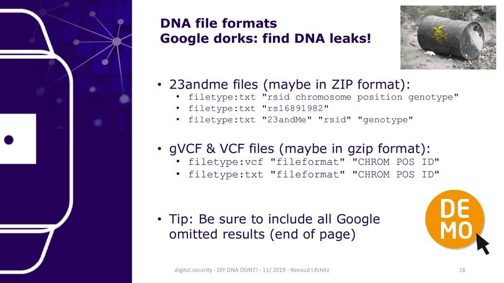 DNA file formats Google dorks: find DNA leaks! ...