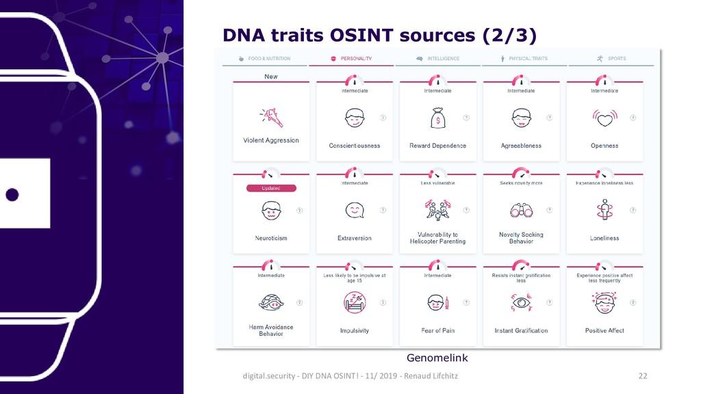DNA traits OSINT sources (2/3) Genomelink 22 di...