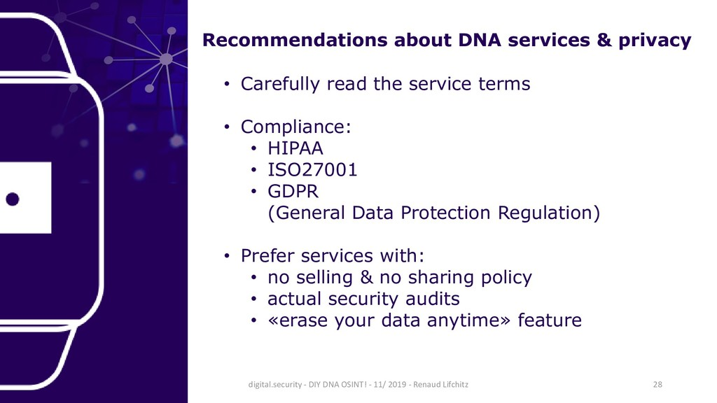 Recommendations about DNA services & privacy • ...