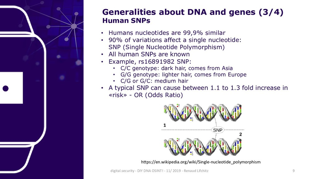Generalities about DNA and genes (3/4) Human SN...