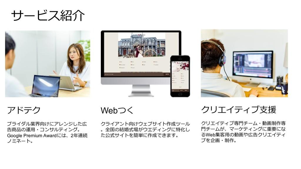 サービス紹介 クリエイティブ⽀援 クリエイティブ専⾨チーム・動画制作専 ⾨チームが、マーケティ...