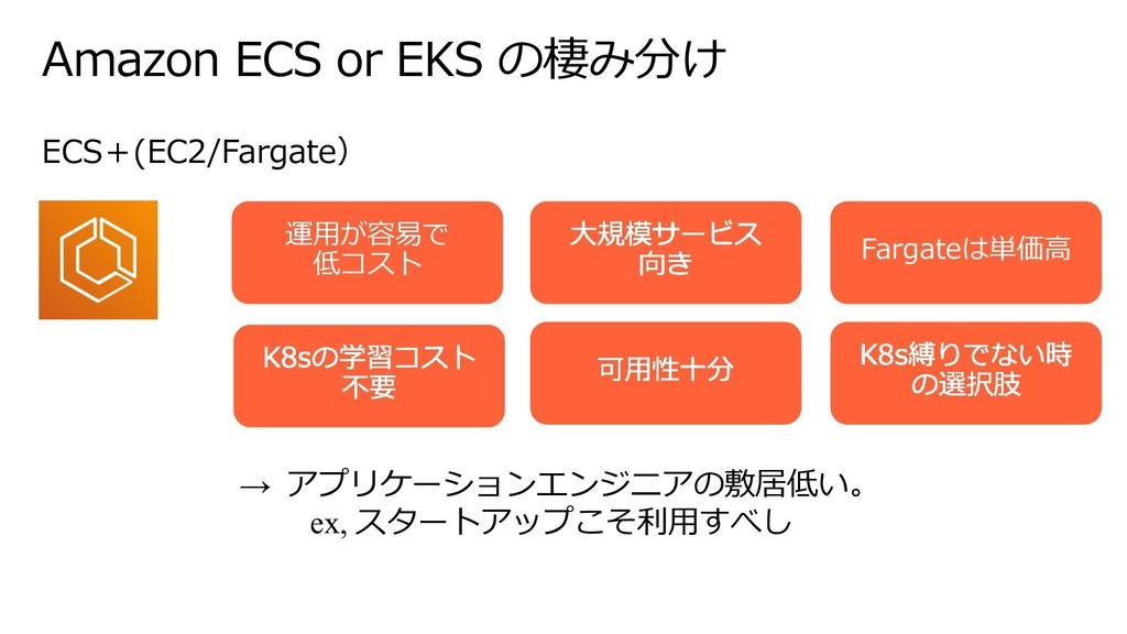 Amazon ECS or EKS の棲み分け ECS+(EC2/Fargate) 運⽤が容易...