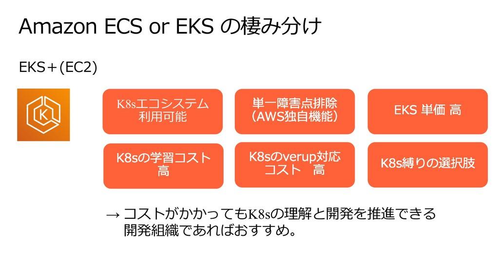 Amazon ECS or EKS の棲み分け K8sエコシステム 利⽤可能 → コストがかか...