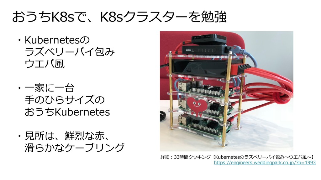 おうちK8sで、K8sクラスターを勉強 ・Kubernetesの ラズベリーパイ包み ウエパ⾵...