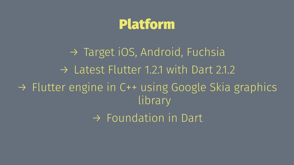 Platform → Target iOS, Android, Fuchsia → Lates...