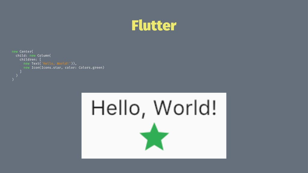 Flutter new Center( child: new Column( children...