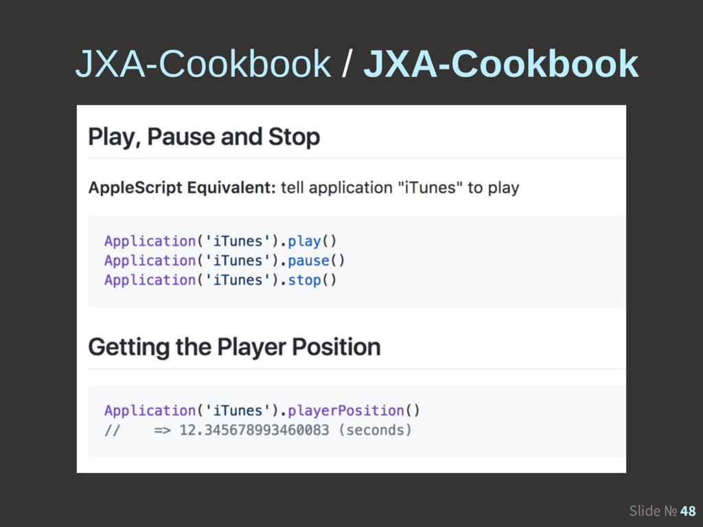 Slide № 48 JXA-Cookbook / JXA-Cookbook