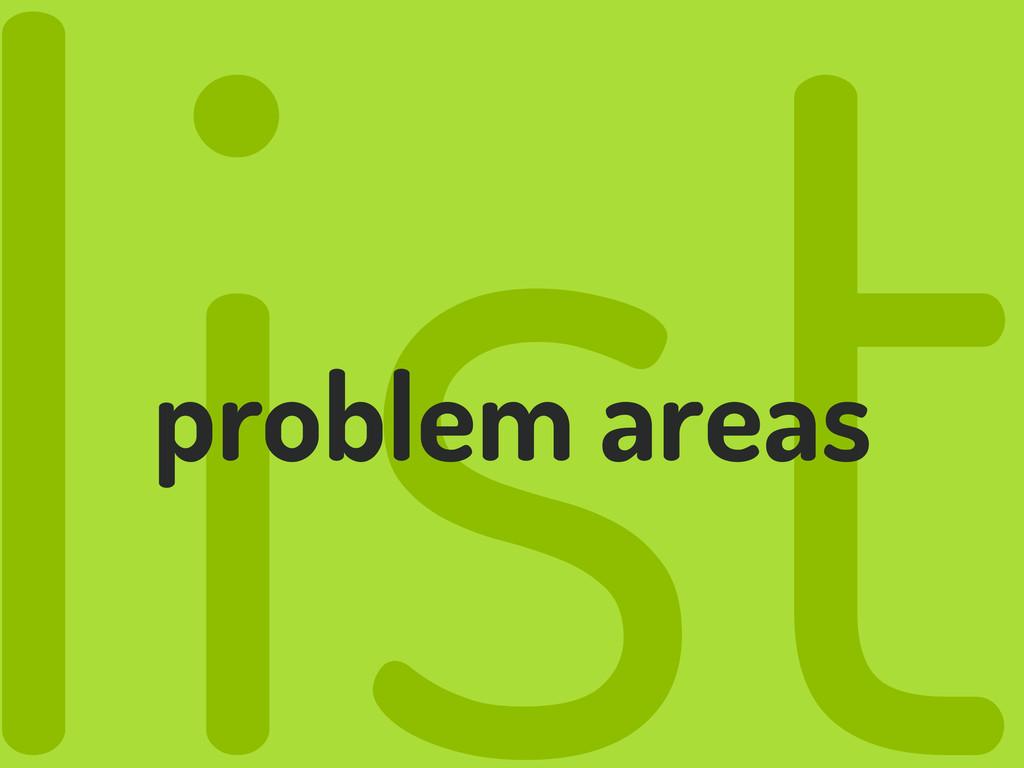 list problem areas
